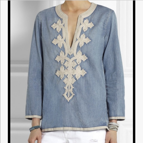 J. Crew Chambray Embroidered Boho Tunic To…